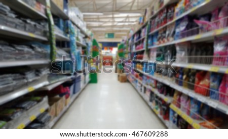 shelf supermarket in blurry for background