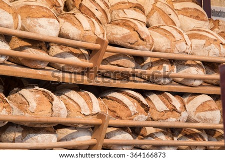 shelf with breads in a bakery