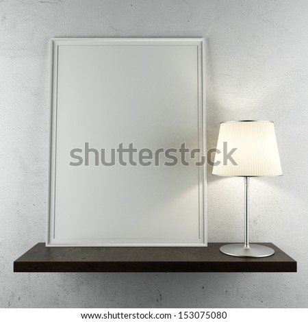 shelf with frame and lamp - stock photo