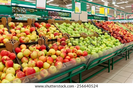 Shelf with fruits in a food store - stock photo