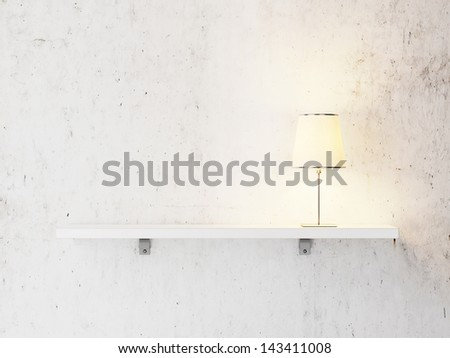 shelf with lamp - stock photo