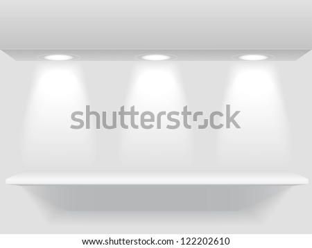 Shelf with three light sources, jpeg version - stock photo
