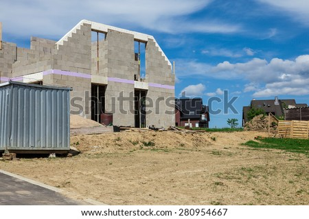 Shell of a house on a construction site