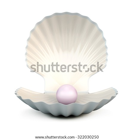 Shell pearl isolated on white background. 3d illustration. - stock photo