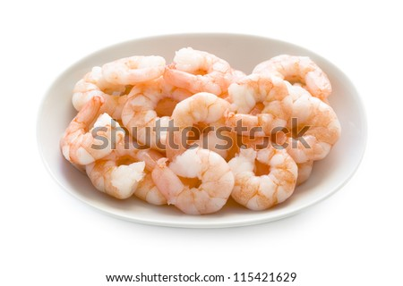 shelled and cooked king prawns isolated on a white background