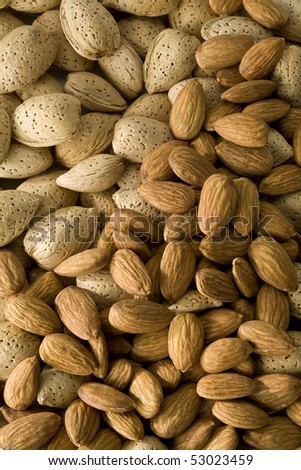 Shelled and  un-shelled almonds filling the frame - stock photo