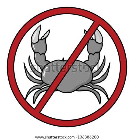 Shellfish Free Symbol; Shellfish Free Icon; Food Allergy Icon - stock photo