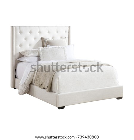 shelter bed isolated on white background queensize upholstered shelter bed with high tufted