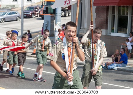 "Shelton, CT, USA - May 25, 2015: The individuals are some of the many participants at the ""Memorial Day Parade"" held in Shelton, Connecticut, on May 25, 2015.  - stock photo"