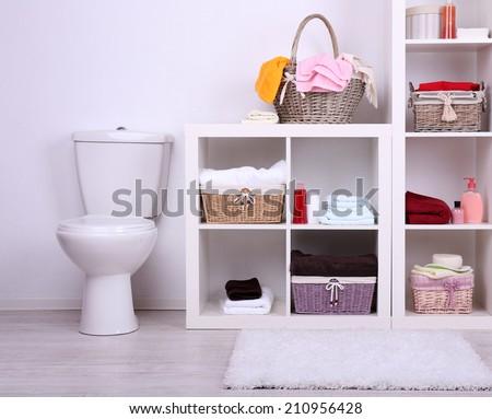 Shelves in bathroom  - stock photo