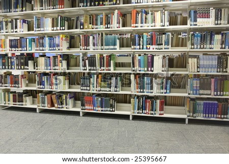 shelves in library - stock photo