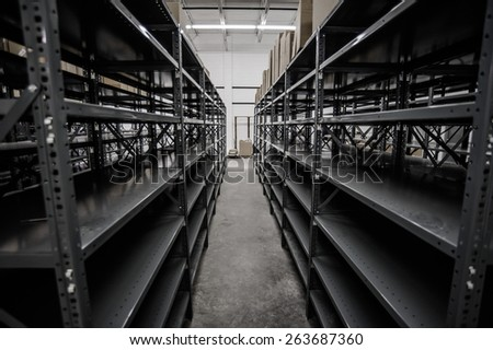 Shelves in the warehouse - stock photo