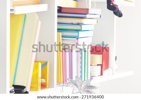 Shelves with books - stock photo