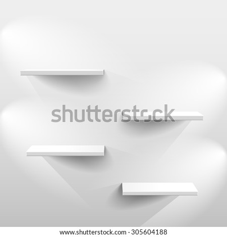 Shelves with light and shadow in empty white room - stock photo