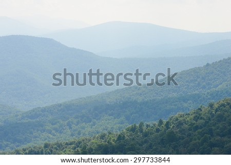 Shenandoah National Park - Cascade forests at morning haze - stock photo