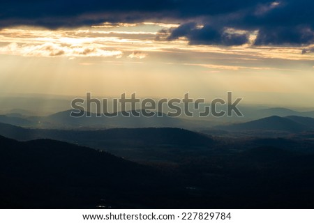Shenandoah National Park in Virginia - Sunlight rays over mountains - stock photo