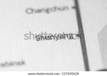 Shenyang, China on a geographical map.