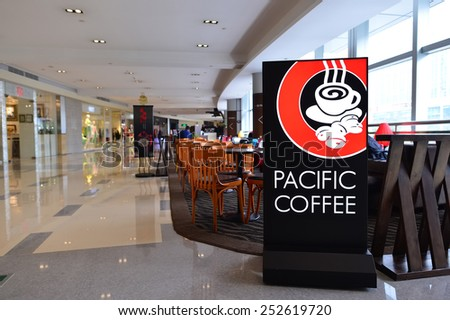 SHENZHEN, CHINA - FEBRUARY 04, 2015: Pacific Coffee interior. Pacific Coffee Company is a Pacific Northwest U.S.- style coffee shop group originating from Hong Kong - stock photo