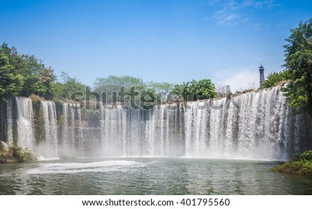Shenzhen, China - 27 March, 2016: Niagara fall in Window of the world. Window of the World has about 130 reproductions of some of the most famous tourist attractions. - stock photo