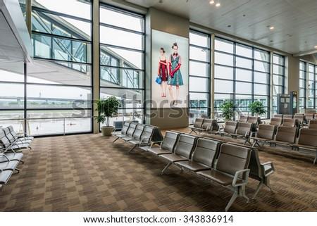 Shenzhen, China, November 1, 2015: Shenzhen Bao'an International Airport in Bao'an District, Shenzhen, Guangdong, China. - stock photo