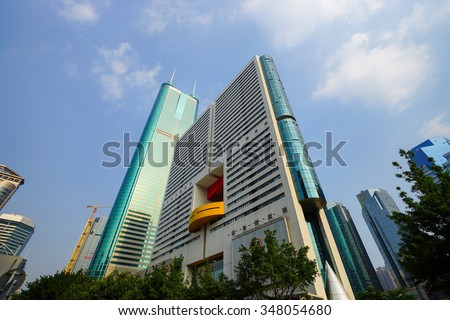 SHENZHEN, CHINA - OCTOBER 15, 2015: ShenZhen downtown, Luohu district. Shenzhen is a major city in Guangdong Province, China.