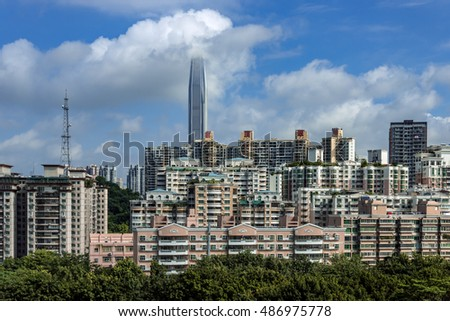 Shenzhen, China - September, 2016 : Cityscape of Shenzhen, China. Shenzhen is a major city in Guangdong Province, China.