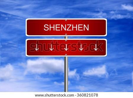Shenzhen Composite China index crash arrow going down stock exchange falling bear market concept. - stock photo