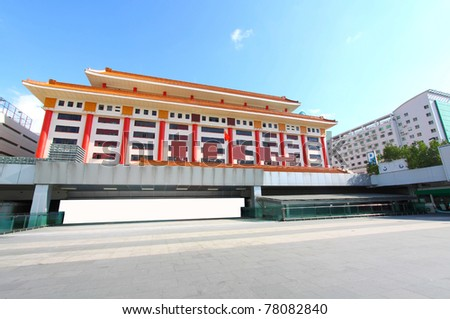 Shenzhen Lo Wu Control Point. It is the port to transit from Mainland China to Hong Kong SAR. - stock photo