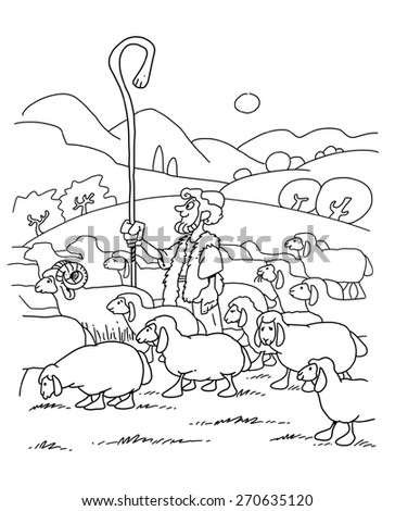 shepherd with sheep coloring page - stock images royalty free images vectors shutterstock