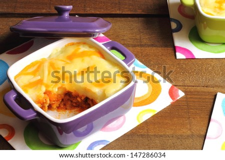 Shepherd's pie in an individual casserole - stock photo