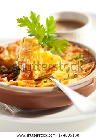 Shepherd's Pie with Mushrooms Sauce - stock photo