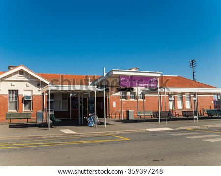 Shepparton, Australia - December 29, 2015: Shepparton Railway Station connects the regional town of Shepparton with Melbourne, 2 hours travel away, with 4 daily V/Line train services.