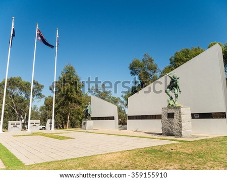 "Shepparton, Australia - December 28, 2015: the Shepparton & District War Memorial was opened in 2000 and features the sculpture ""Helping Hand""."
