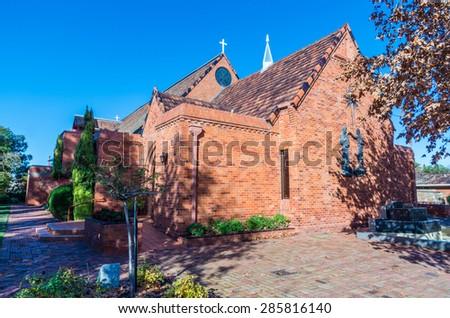 Shepparton, Australia - June 8, 2015: St Augustine's Anglican Church in Maude Street, Shepparton. - stock photo