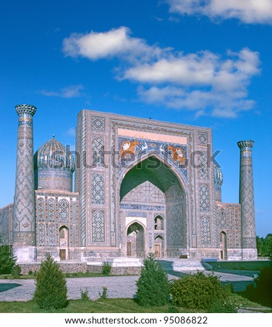 Sher-dor Madrassah - Sher Dor (Lion) Medressa, the Part of Registan Ensemble. Samarkand, Uzbekistan, Central Asia -  World Heritage Site by UNESCO