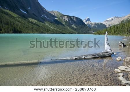 Sherbrooke Lake, Yoho National Park, British Columbia, Canada - stock photo