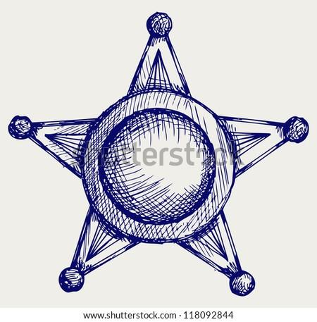 Sheriff badge. Doodle style. Raster - stock photo