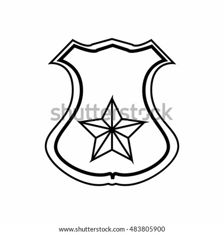 sheriff badge icon in outline style isolated on white background police symbol