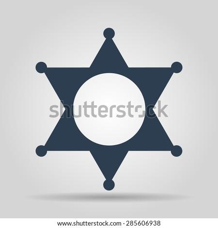 Sheriff star. Flat web icon or sign isolated on grey background.  - stock photo