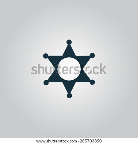 Sheriff star. Flat web icon or sign isolated on grey background. Collection modern trend concept design style illustration symbol - stock photo