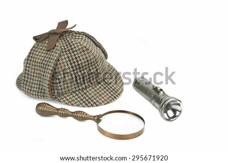 Sherlock Holmes Deerstalker Cap, Vintage Magnifying Glass And Retro Flashlight Isolated On White Background. Investigation Or Solve Crimes Concept - stock photo
