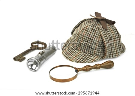 Sherlock Holmes Deerstalker Cap, Vintage Magnifying Glass, Retro Flashlight And Old Rusty Key Isolated On White Background. Investigation Concept - stock photo