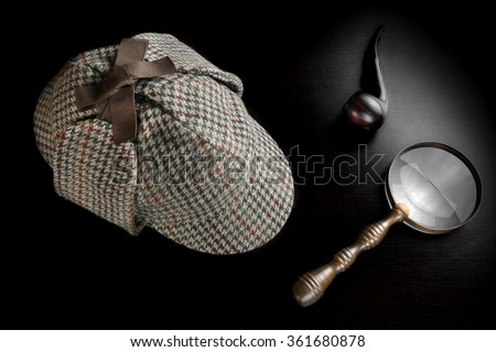 Sherlock Holmes Deerstalker Hat Smoking Pipe, Old Key And Vintage  Magnifying Glass On The Black Wooden Table Background. Overhead View.  Investigation Concept. - stock photo