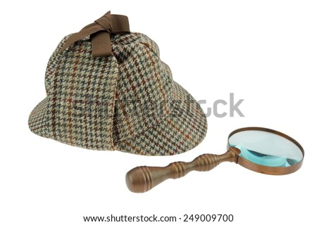 Sherlock Holmes Hat and Retro Magnifying Glass Isolated on White Background - stock photo