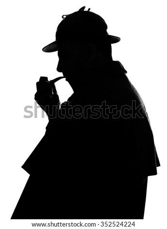 Sherlock Holmes silhouette famous detective - stock photo