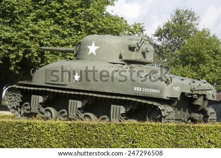Sherman Tank in the memorial museum of the Battle of Normandy, Bayeux, Normandy, France. - stock photo
