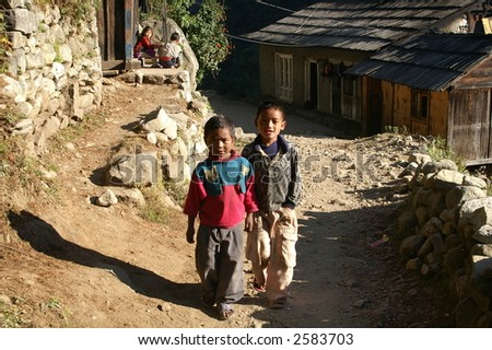 Sherpa Children in Town - stock photo