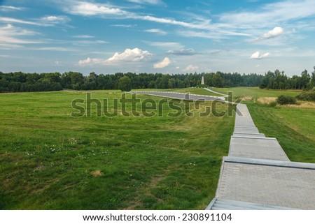 Shevardino Redoubt, walkway and field. Borodino, Mozhaysk district, Moscow region - stock photo