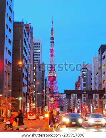 SHIBAKOEN, TOKYO - DECEMBER 16, 2013: Tokyo Tower, photographed at night, is the landmark and symbol of Tokyo. Constructed in 1958. Height: 332.6 m