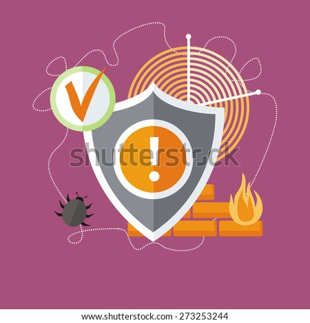 Shield antivirus. Antivirus system. Concept in flat design style. Can be used for web banners, marketing and promotional materials, presentation templates. Raster version - stock photo